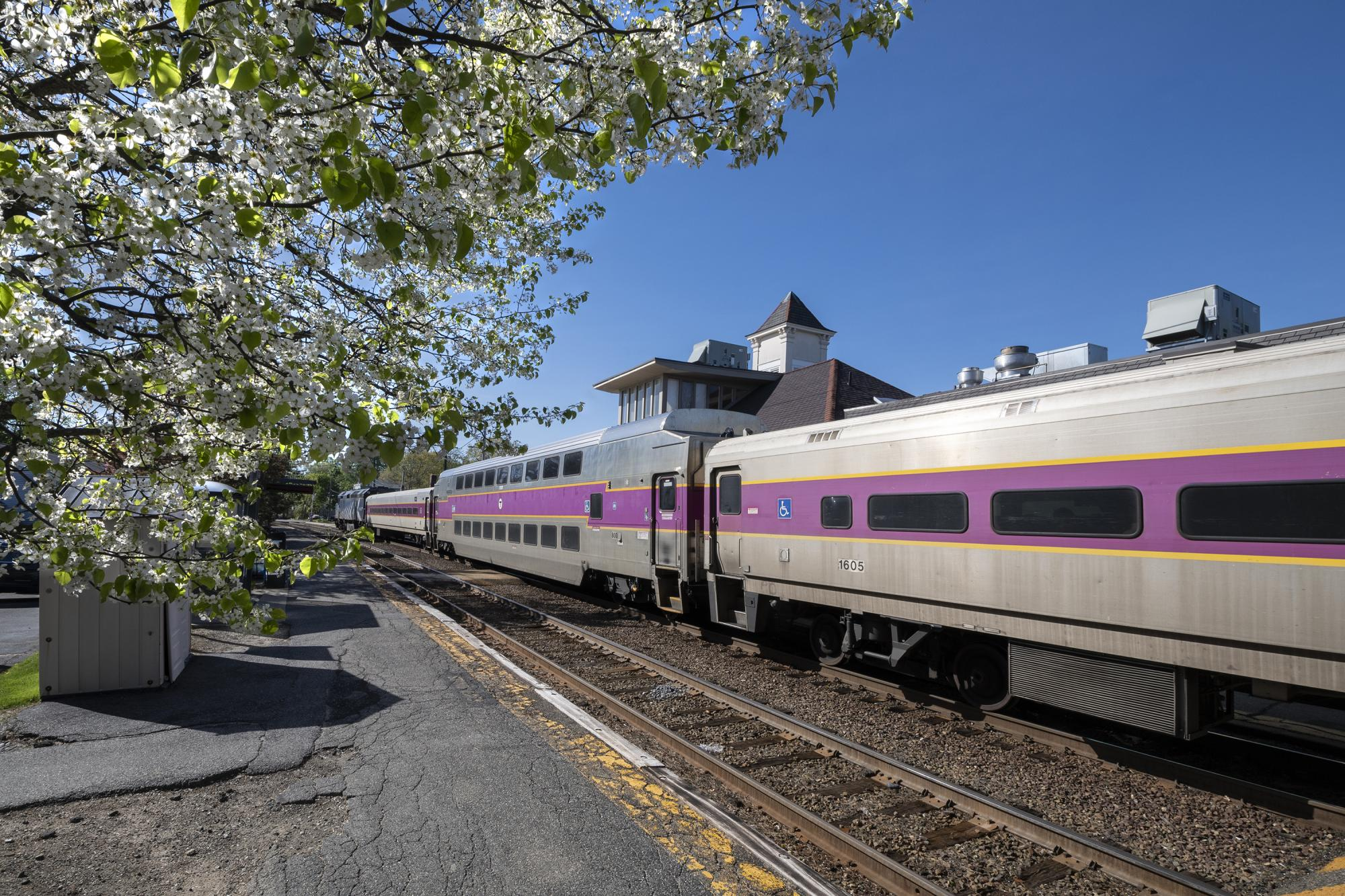 Commuter Rail in Concord during springtime