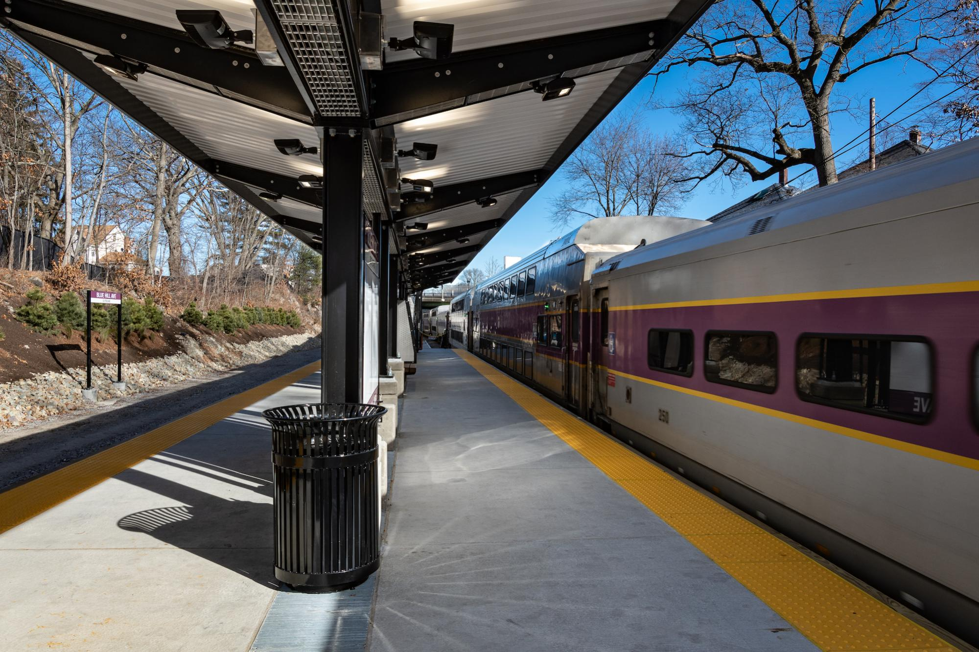 Station platform with an older Commuter Rail locomotive (January 2019)