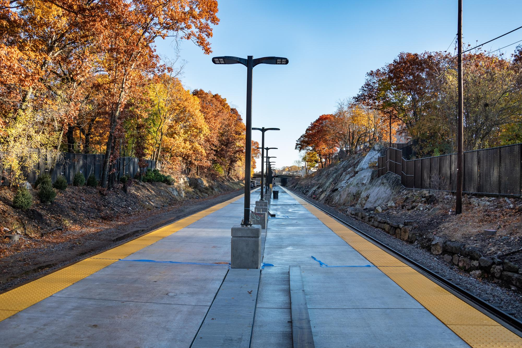 Blue Hill Ave station platform (November 2018)