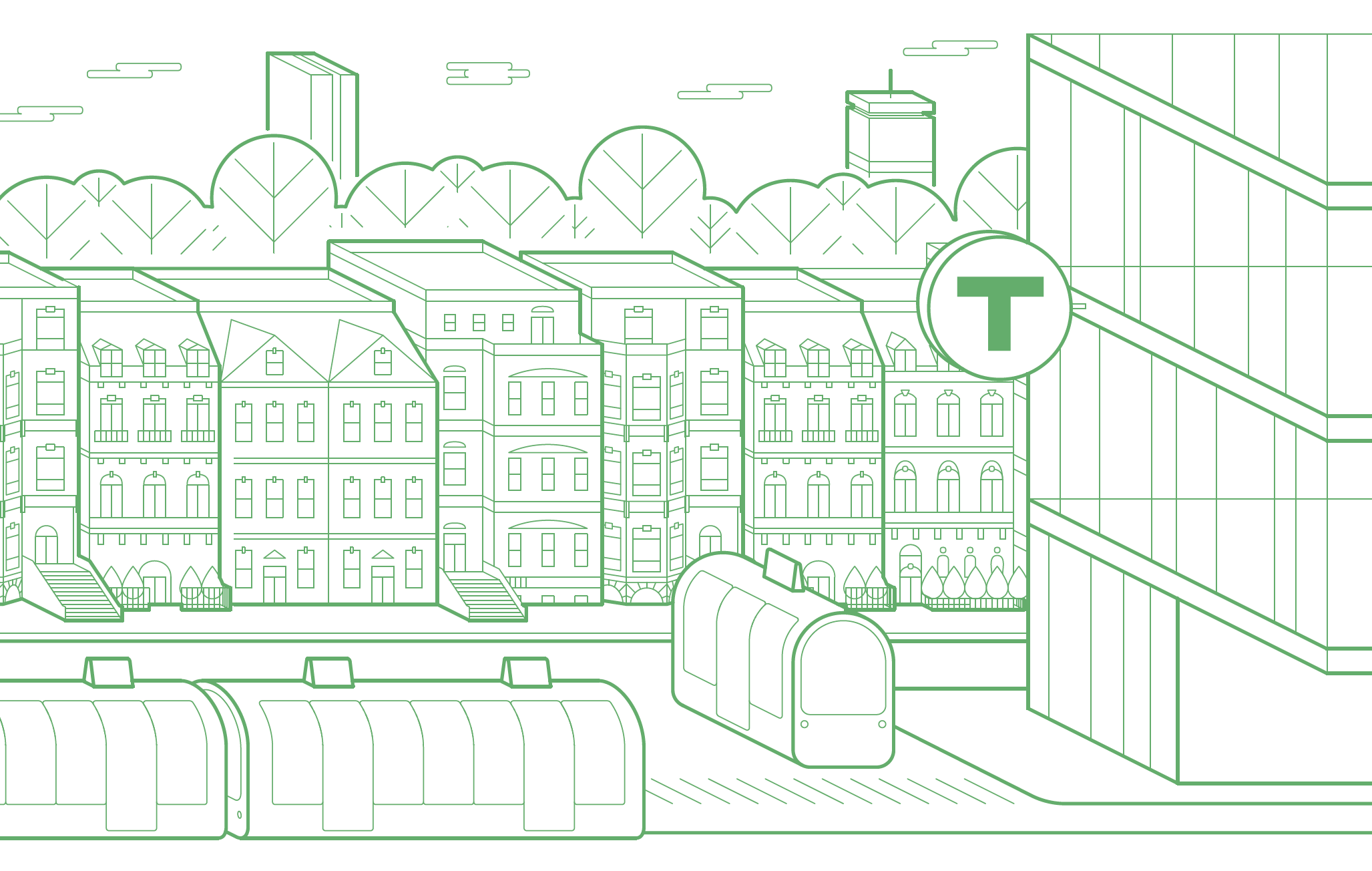 Illustration of the Boston cityscape, with brownstones, trains, and a T logo