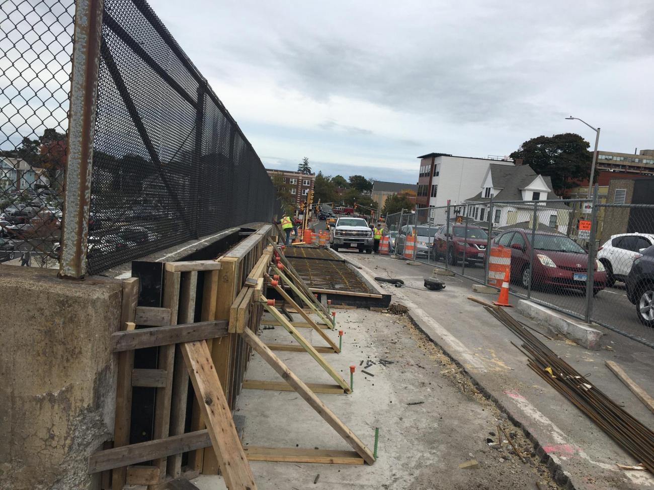 New sidewalk construction on Beale Street adjacent to Wollaston Station (October 2019)