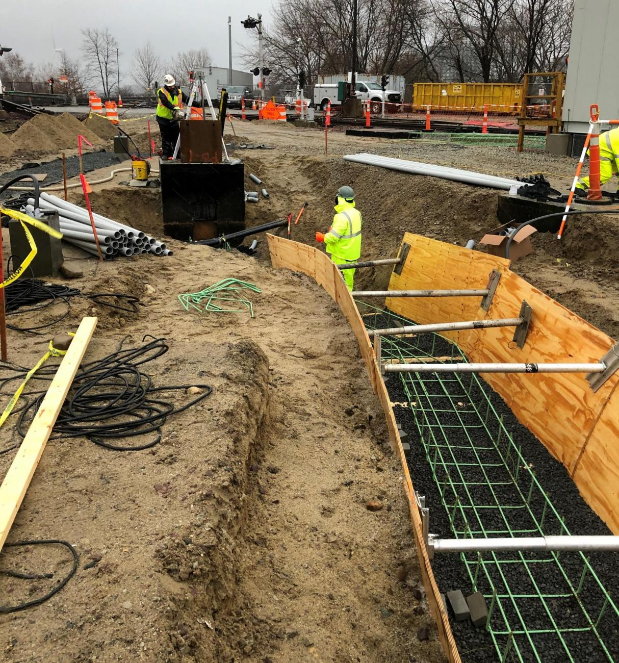 Crew members install rebar in the duct bank that will house cabling for the Wellington Maintenance Facility