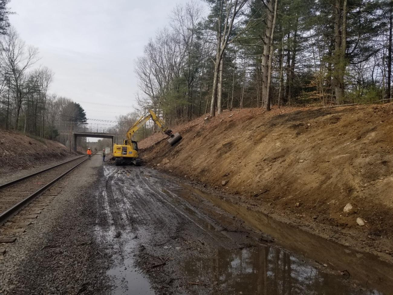 The area around the track is excavated to make room for new track as Phase 2 of the Franklin Double Track project begins (February 2020)