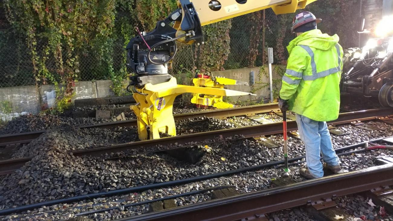 Removing ties along the tracks of the Green Line D branch (November 2018)