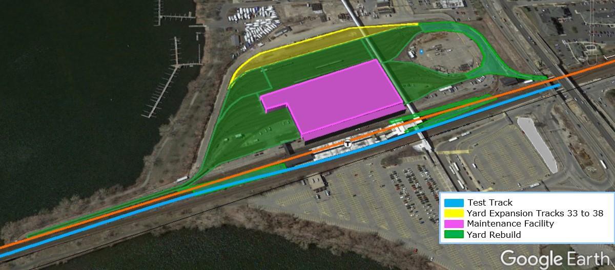 Map of new test track, yard expansion, maintenance facility, yard rebuild