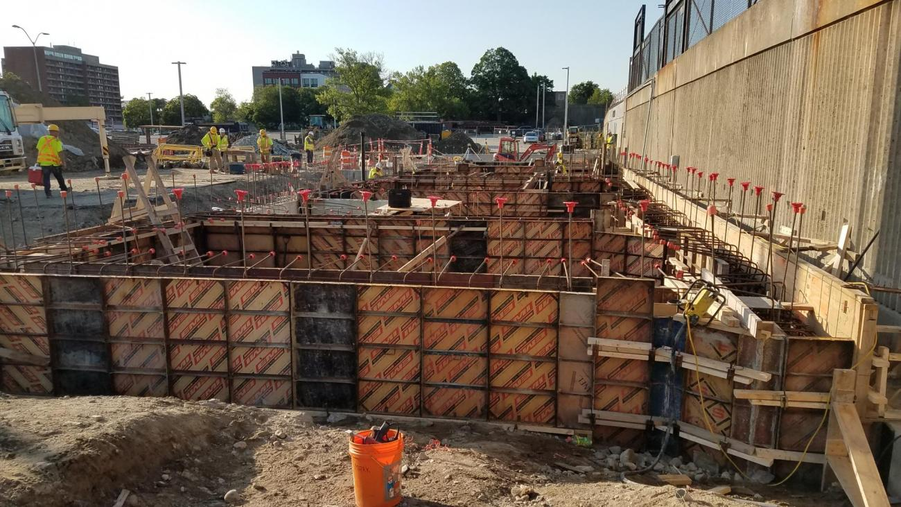 Setting forms for foundation at headhouse (June 8, 2018)