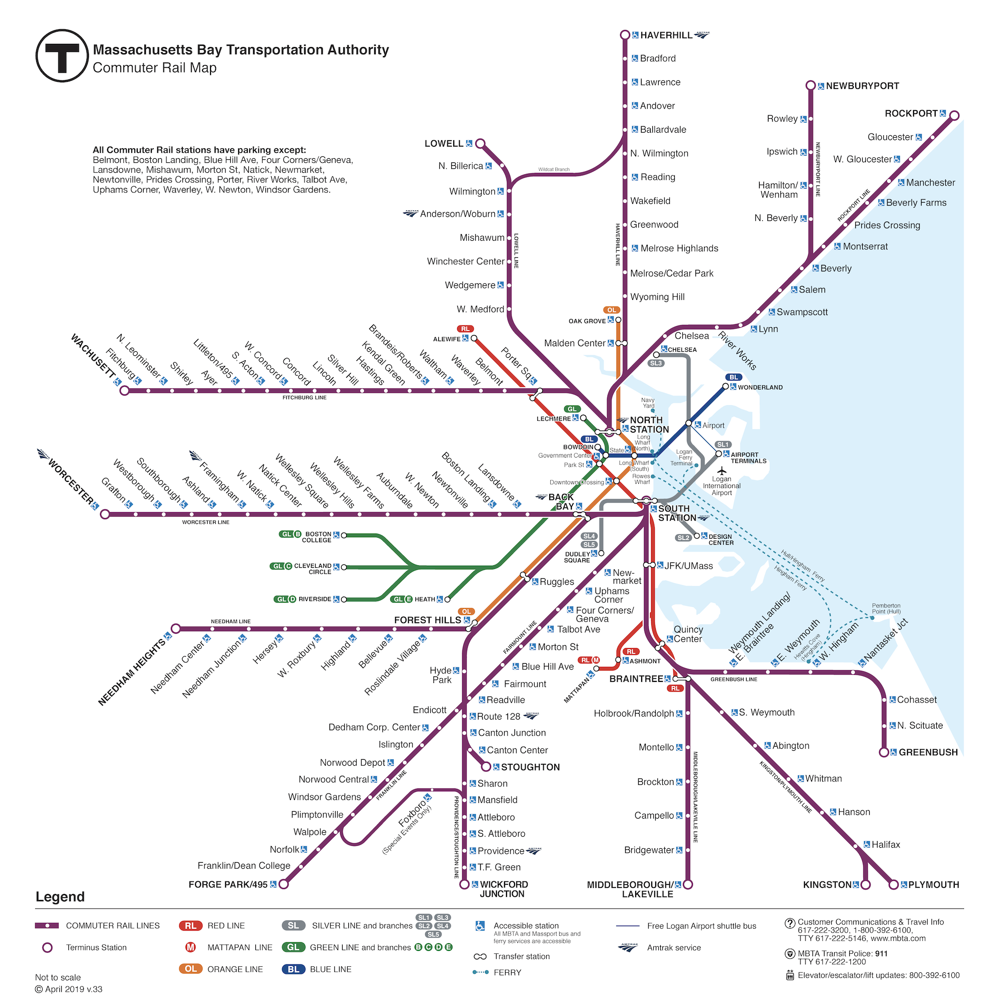 Map of all Commuter Rail lines, with subway lines also featured less prominently.