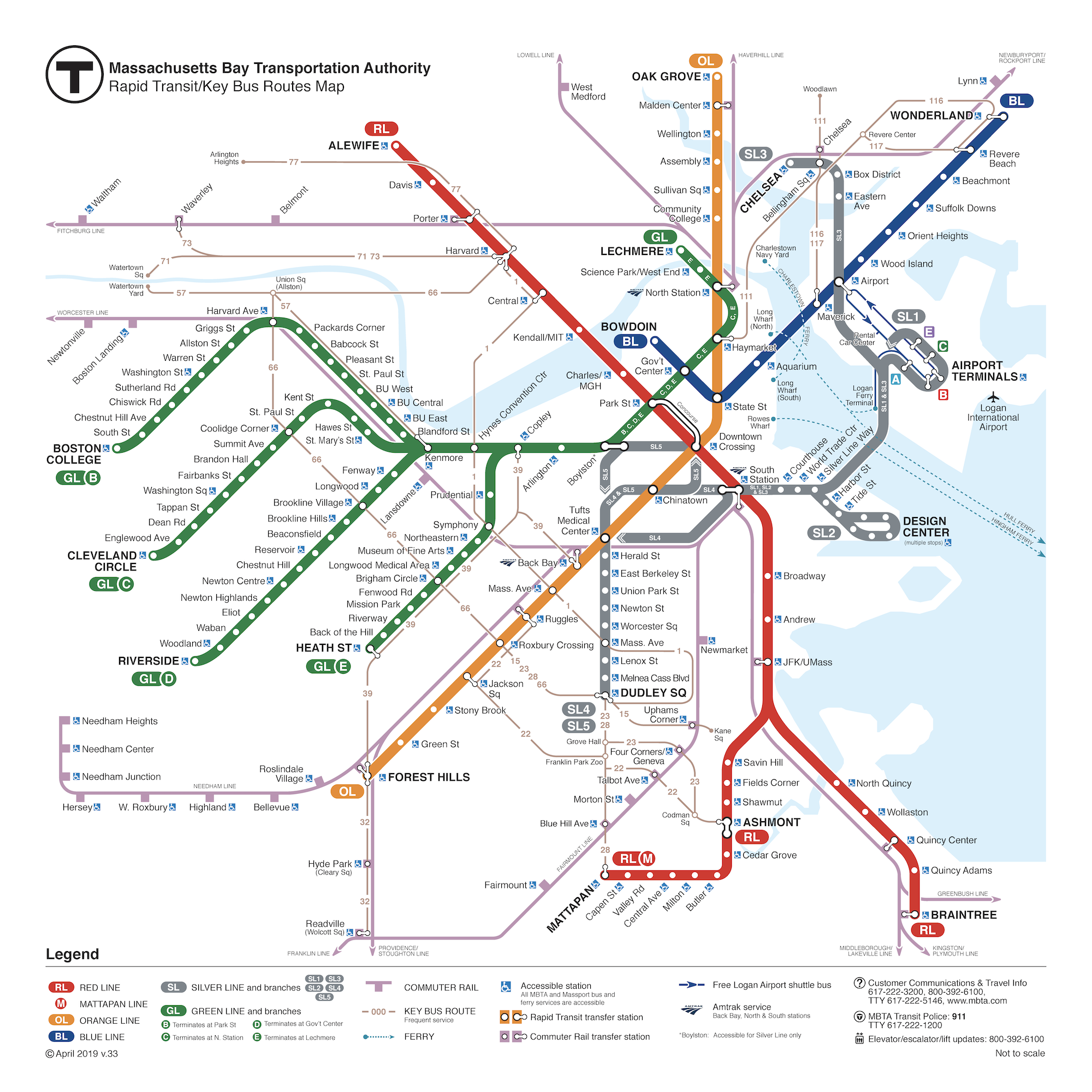 Map of all rapid transit (subway and Silver Line) and key bus routes.