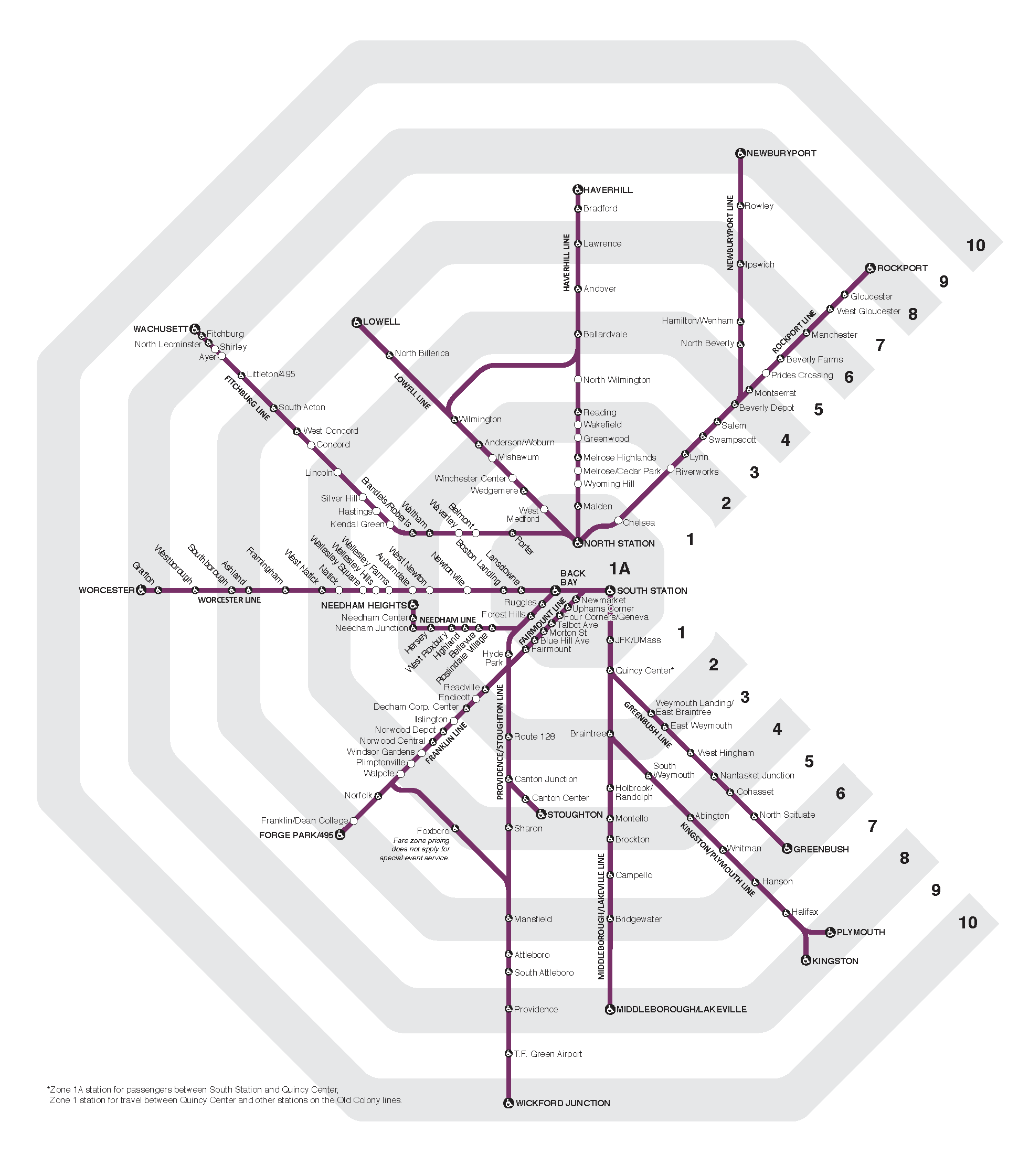 Map of all Commtuer Rail lines, with shading to indicate which fare zone each station is in