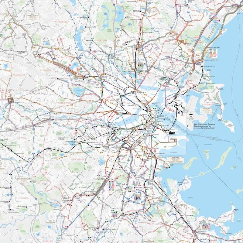 Map of the Greater Boston area with all MBTA modes and lines
