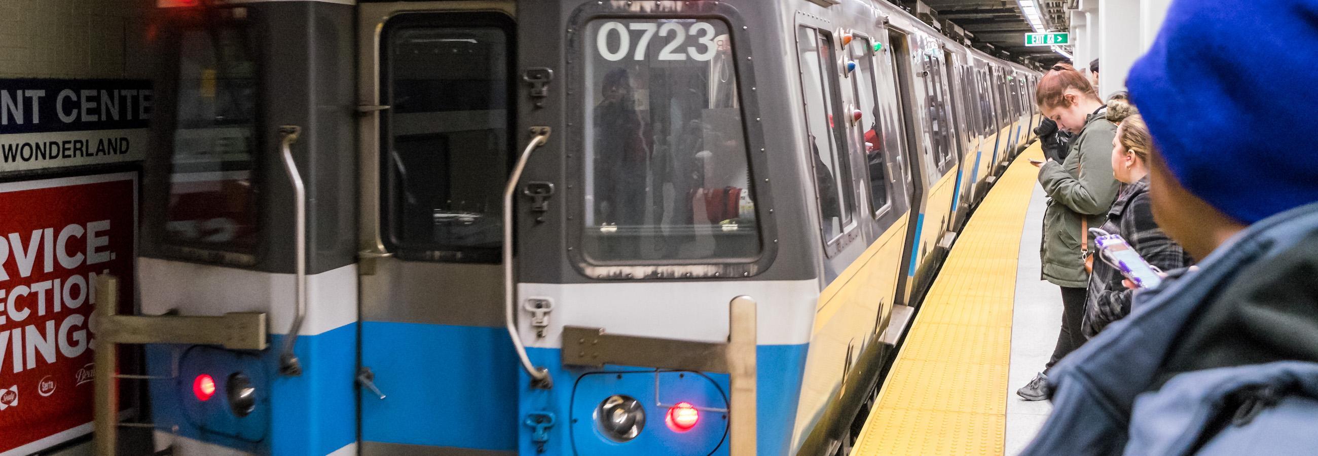Blue Line in station