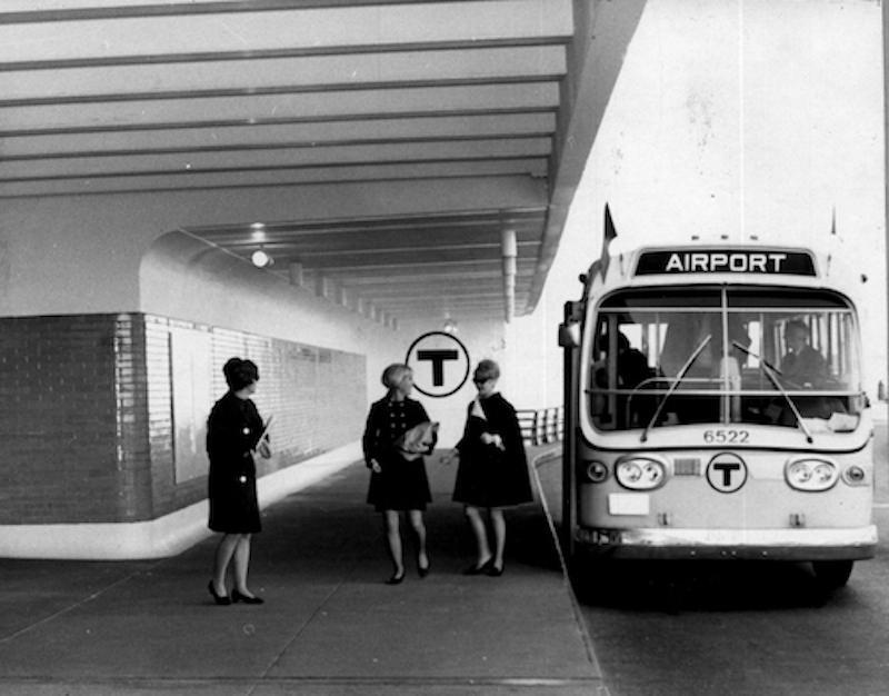 MBTA bus at airport, 1960s