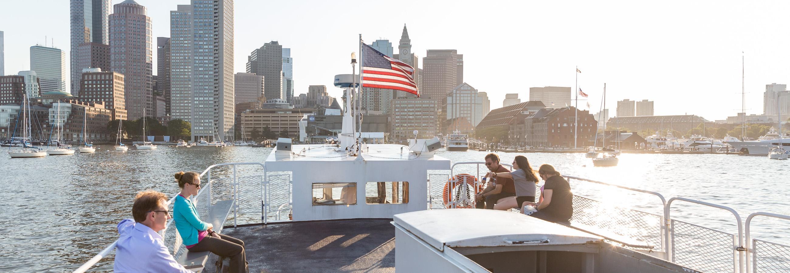 boston harbor skyline from ferry