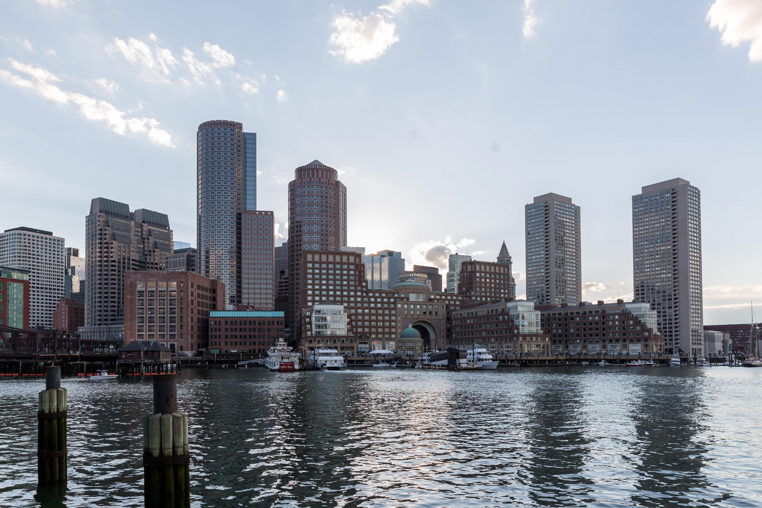 Financial district of Boston, with water in the foreground