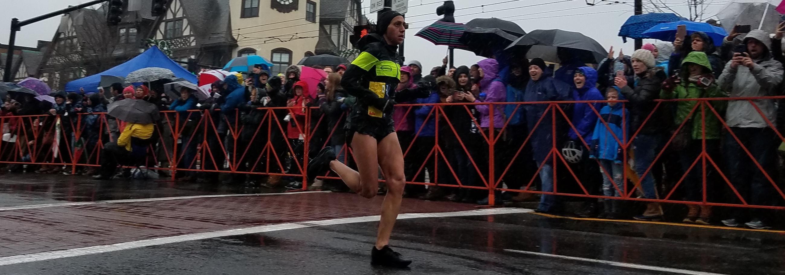 Marathon runner in Coolidge Corner