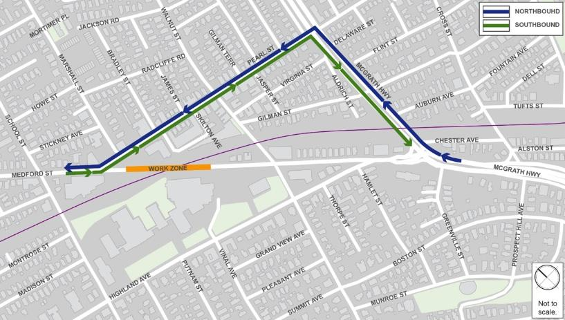 Map of Medford Street Bridge Closure Traffic Detour. For traffic headed north/west: Bear right on McGrath Highway at Medford Street, left on Pearl Street, and right on Medford Street. For traffic headed south/east: From Medford Street, bear left on Pearl Street, right on McGrath Highway, and continue on McGrath Highway.