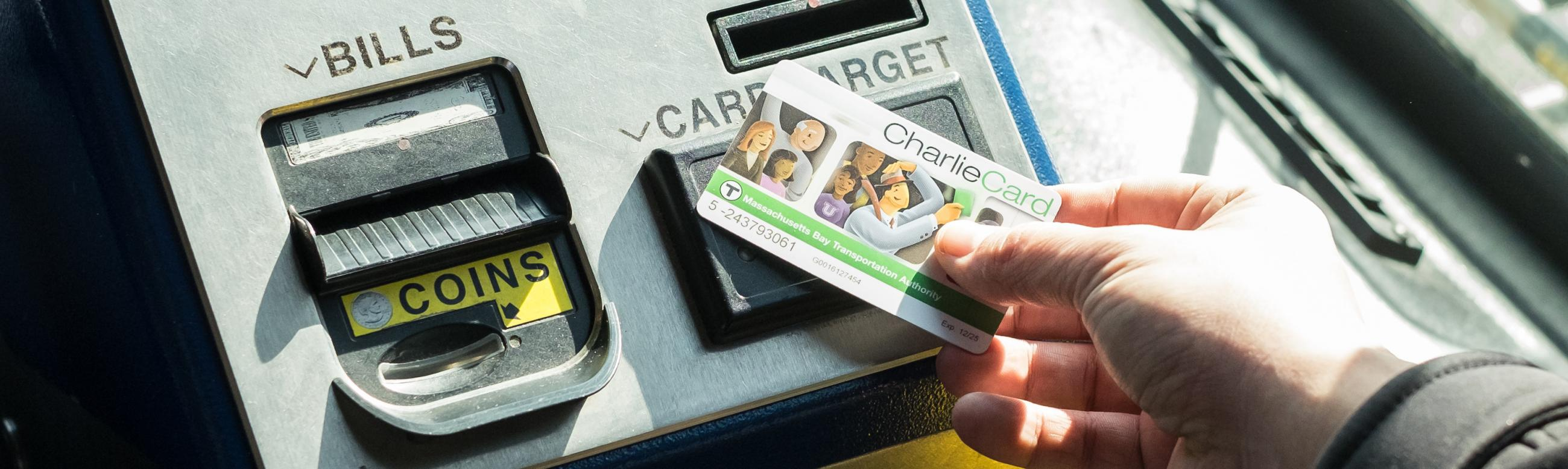 CharlieCard being used at fare box