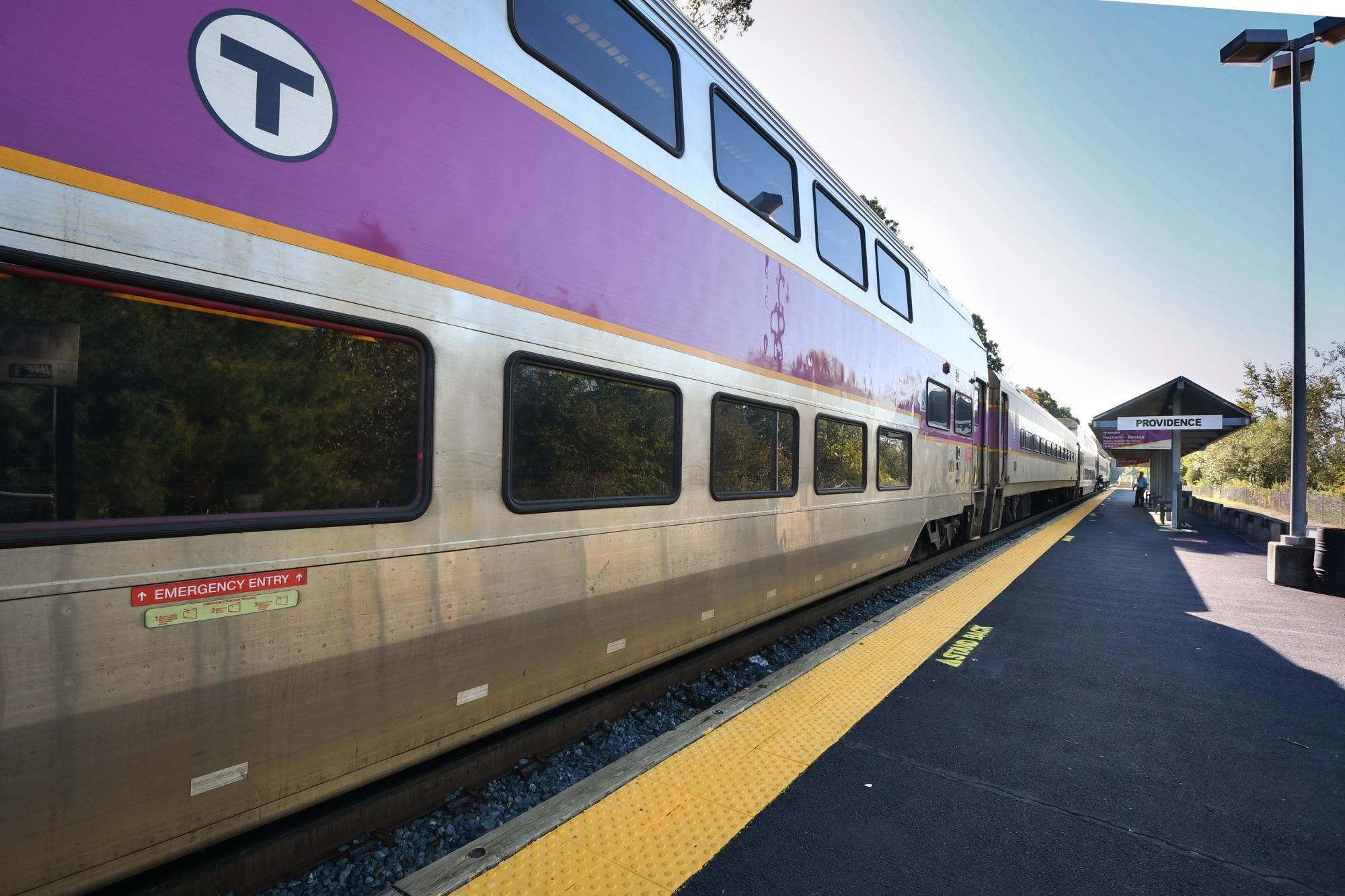 A Commuter Rail train stopped at the Providence-bound platform.