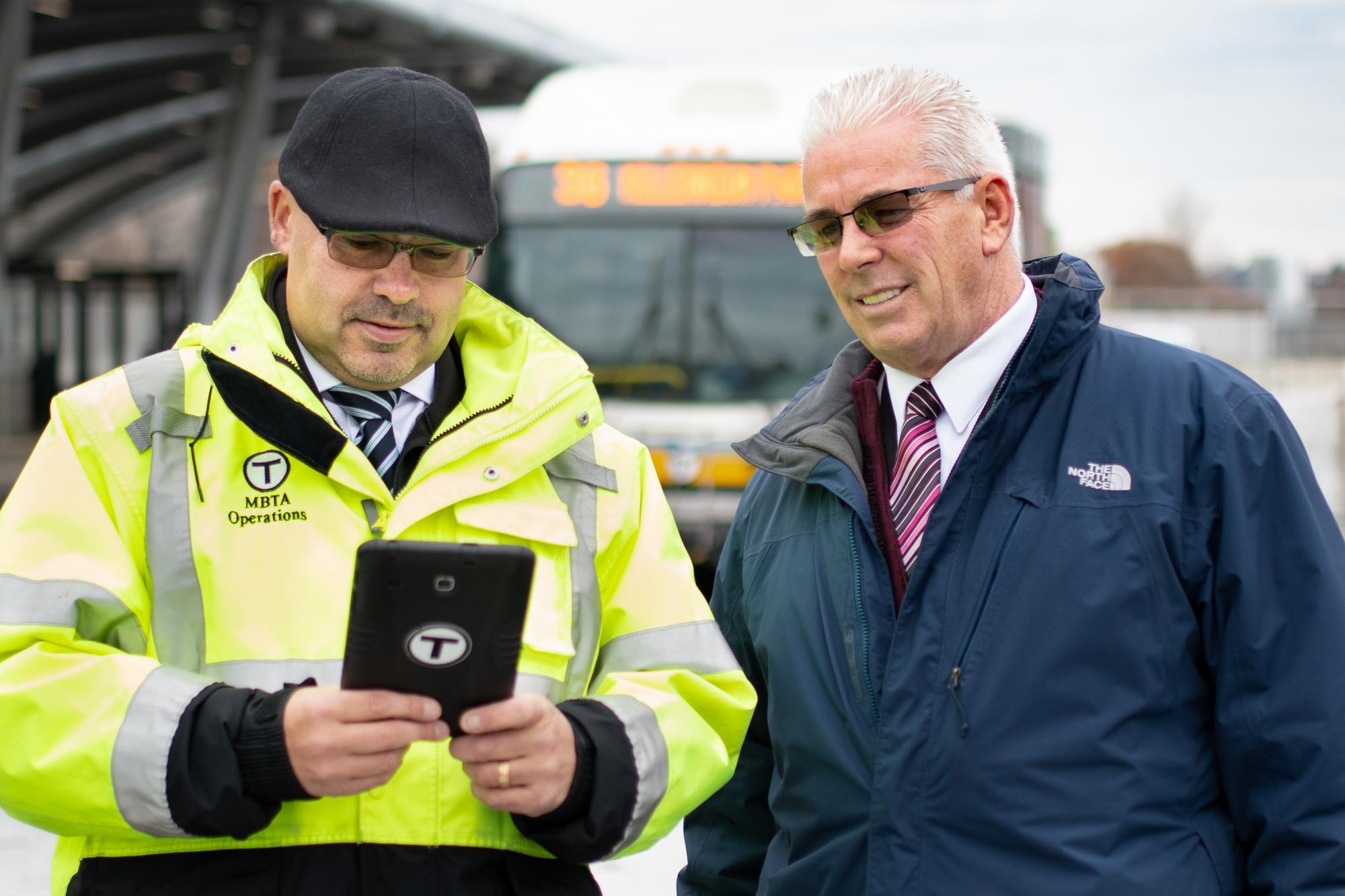 Road Control Supervisors Dorsey Dugan and Brian Clifford, who helped design Skate, a mobile dispatching app for bus inspectors