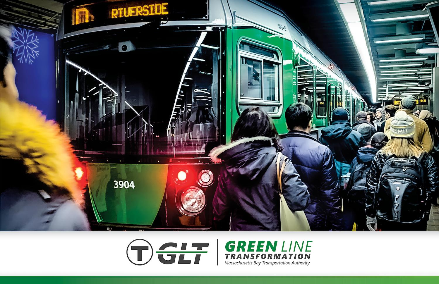 Riders approach a Green Line train in an MBTA station