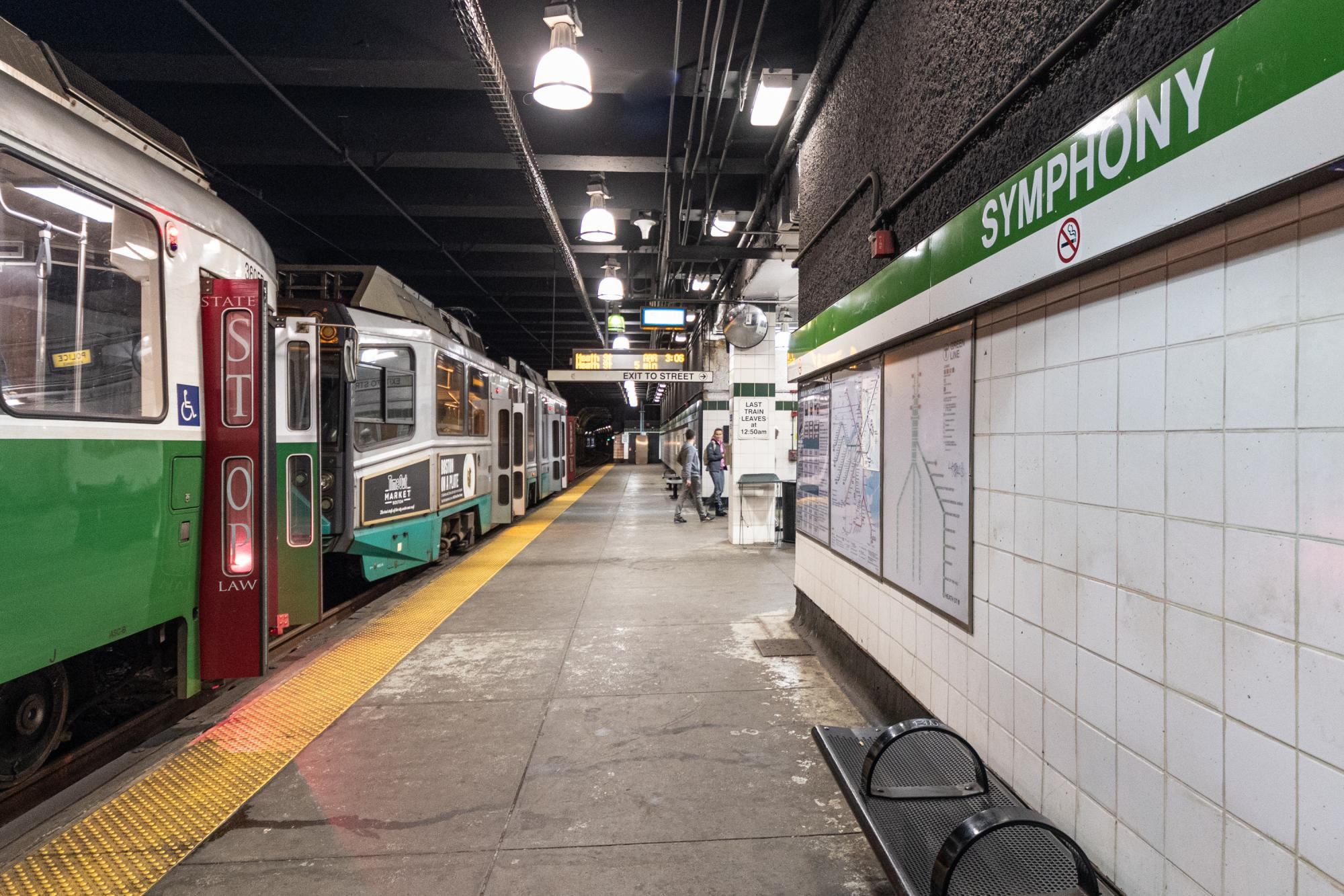 A Green Line train at the platfrom at Symphony Station