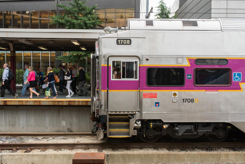 Commuter Rail passengers disembark at South Station