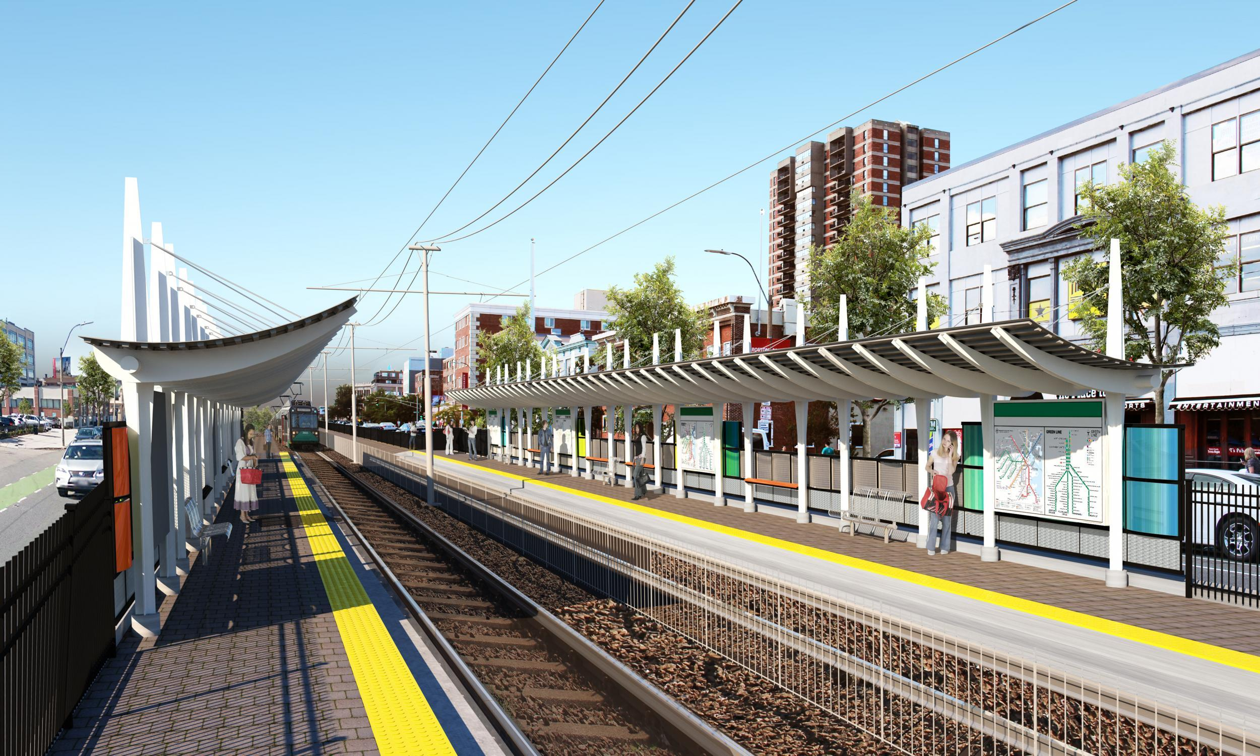 Rendering of the proposed station between Harry Agganis Way and Babock St, with a view of the platform.