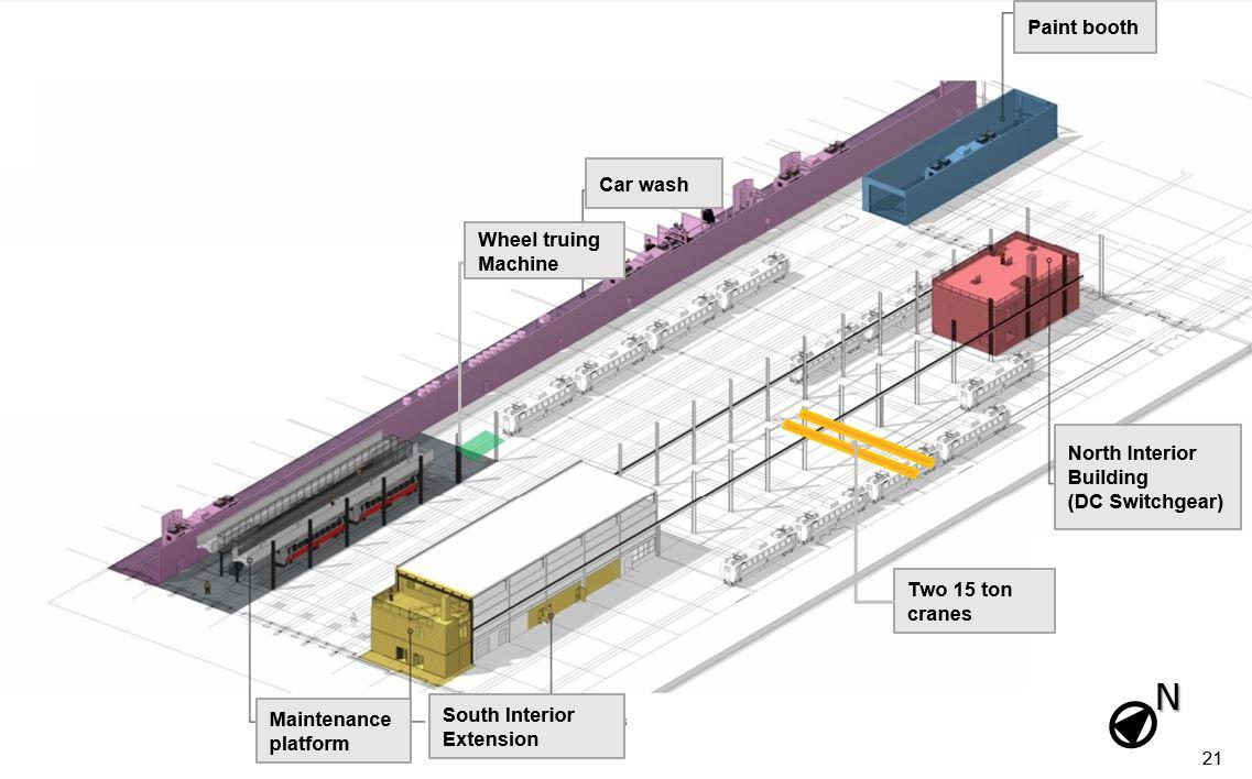 Cabot Maintenance Facility: Planned improvements, including a maintenance platform, car wash, paint booth, wheel truing machine, and cranes. Rendering by designer on record.