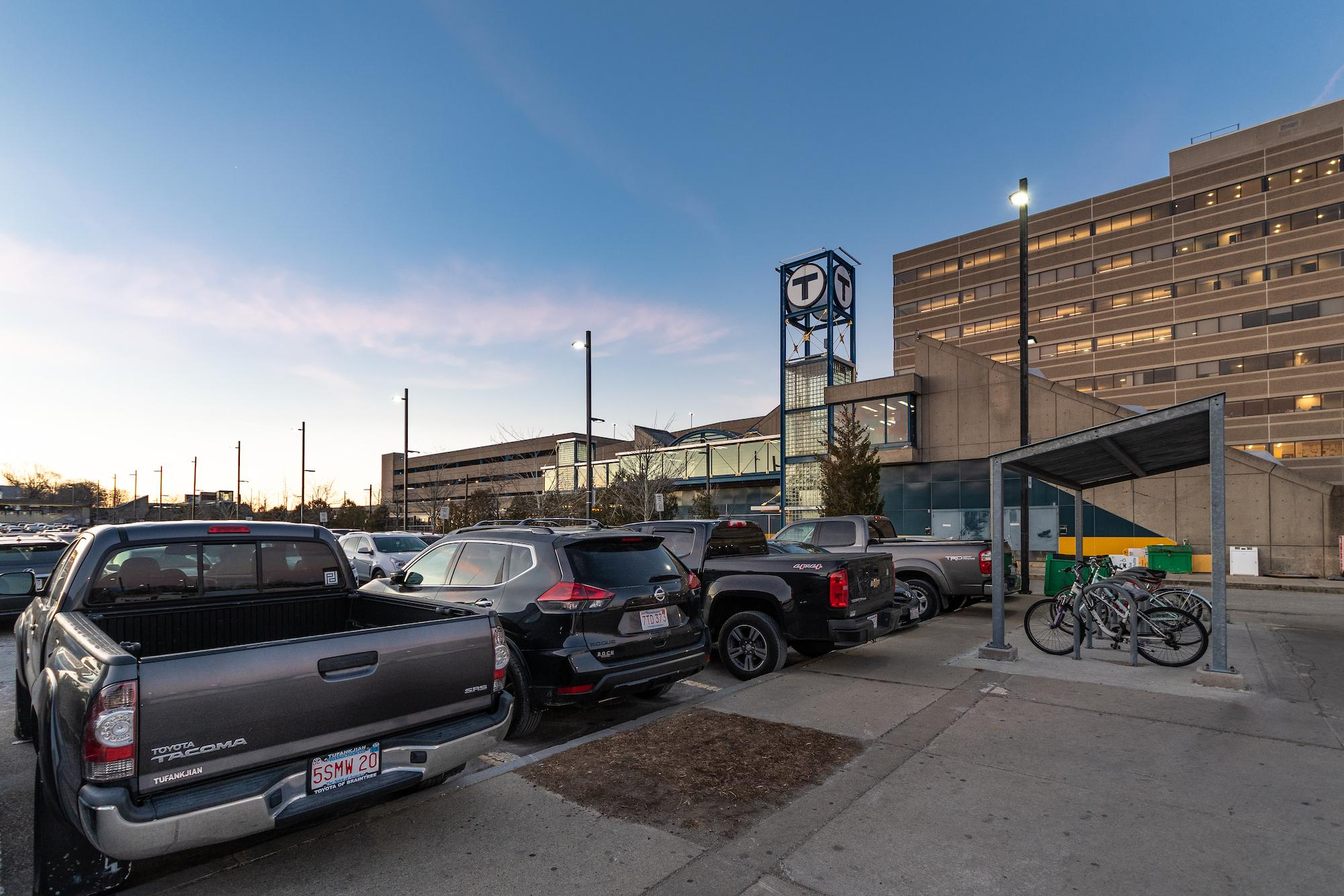 North Quincy station, parking lot, and bike racks