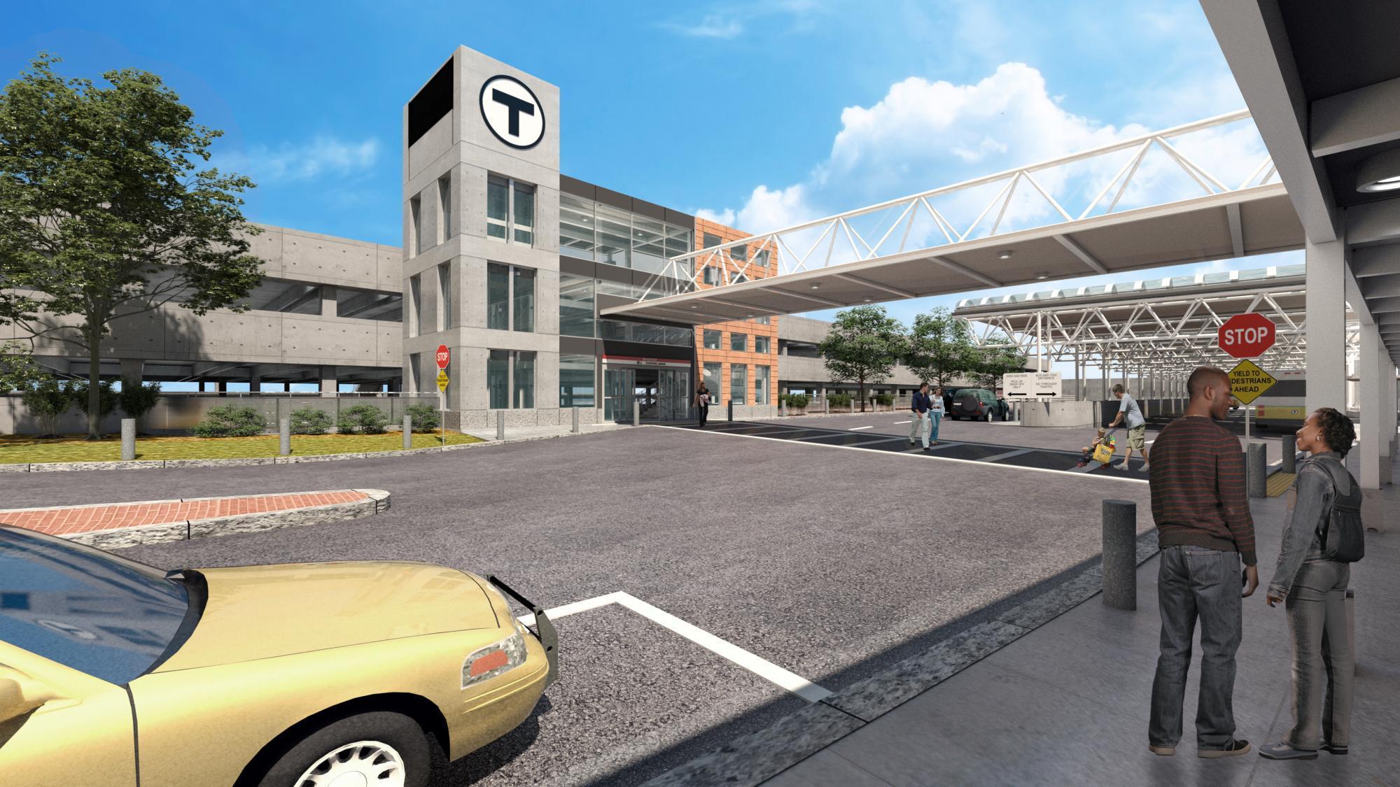 Rendering of the renovated garage Braintree station