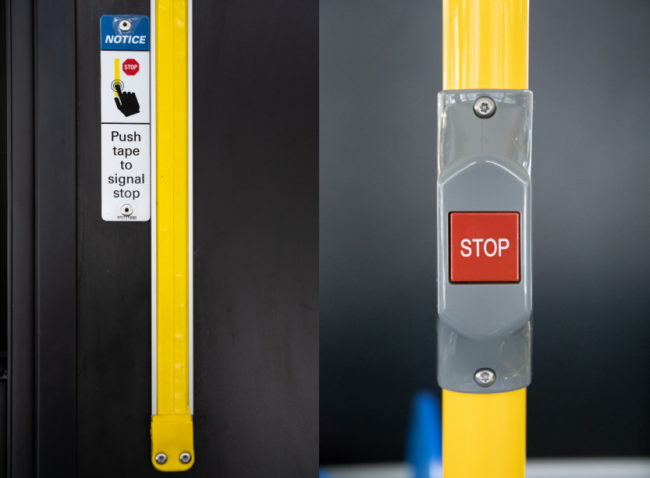 bus stop request tape and button