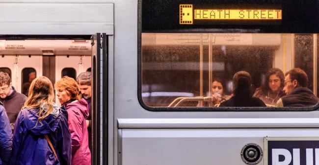 Customers on Green Line train