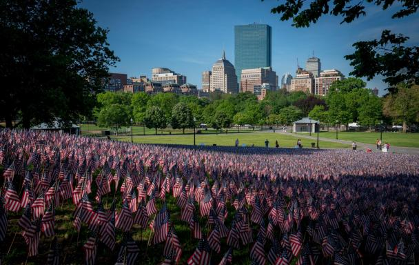 Flags on Boston Common. Photo by Michael Skok on Unsplash.