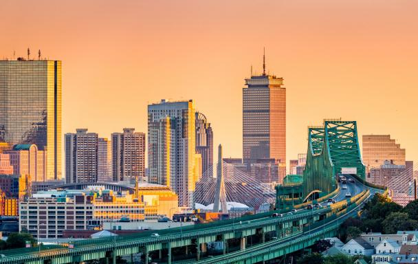 Tobin Bridge with the Boston skyline at sunset