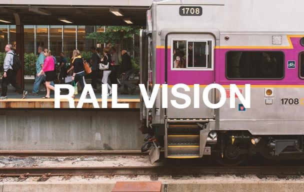 A Commuter Rail train at the South Station platform, with passengers disembarking. Text overlaid: Rail Vision